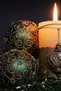 Christmas candles and balls ornaments Stock Photography