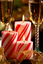 Christmas Candles and Champagne Stock Photos