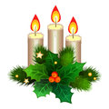 Christmas candles with fir branches and holly berries. Vector Royalty Free Stock Photo