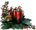 Christmas candles & foliage Stock Photo