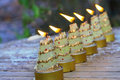 Christmas candles in line Royalty Free Stock Photo