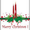 Christmas candles and red stars Stock Photo