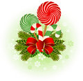 Christmas candy cane decorated. Royalty Free Stock Image