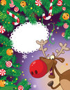Christmas candy card and deer Royalty Free Stock Image