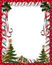 Christmas Candy and Holly border Stock Images