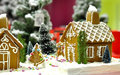 Christmas and candy houses of with trees Royalty Free Stock Images