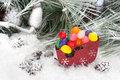 Christmas candy in sleigh Royalty Free Stock Images