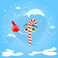 Christmas candy stick point finger up corner copy space advertise cartoon character concept blue snow background flat vector Stock Photos