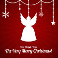 Christmas card with angel red and beads Stock Photos