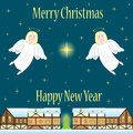 Christmas card with angels  Stock Images