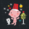 Christmas card with baby boy vector illustration Stock Image