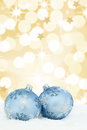 Christmas card balls baubles gold golden background stars snow Royalty Free Stock Photo
