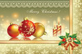 Christmas card with balls and candles decoration Royalty Free Stock Photos