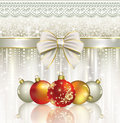 Christmas card with balls on the elegant background decorated with elegant bow Royalty Free Stock Photo