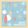 Christmas card with balls and snowflakes Stock Photo