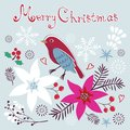 Christmas card with bird flowers and little Royalty Free Stock Photography