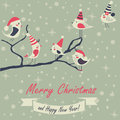 Christmas card with birds and happy new year greeting cute sitting on branch in cartoon style Royalty Free Stock Photos