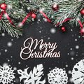 Christmas card. On a black stone background. With fir branches adorned with balls and red slack. Top view Royalty Free Stock Photo