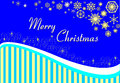 Christmas card on a blue background with gold stripes and snowflakes. Royalty Free Stock Photo