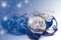Christmas card with blue ball balls and festive ribbon Royalty Free Stock Image