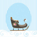 Christmas Card Blue Beautiful Old Sled Snowflake Vector Illustration Royalty Free Stock Photo