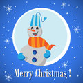 Christmas card blue with snowman laughing and white snowflakes Royalty Free Stock Photo