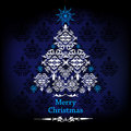 Christmas card blue with tree Royalty Free Stock Photos
