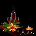 Christmas card with bottle of wine and two glasses fir branches and candle Stock Images