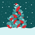 Christmas card with bullfinch bir Royalty Free Stock Image