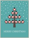 Christmas card with bullfinch on fir tree Stock Photo