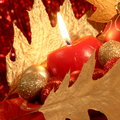 Christmas card candle balls stock photos with red and tree picture of centerpiece ornaments decorated with golden leaves Stock Images