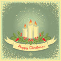 Christmas card with candles vector scroll vector vintage illustration Royalty Free Stock Image