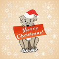 Christmas card with cartoon dog vector illustration eps Royalty Free Stock Photo