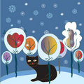Christmas card with cat and forest Royalty Free Stock Image