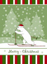 Christmas card with Christmas bear skier Stock Photography