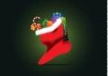 Christmas card christmas sock with Royalty Free Stock Photo