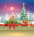 Christmas card with christmas tree and candles on a winter landscape in the decoration Royalty Free Stock Images