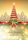 Christmas card with christmas tree a decorated a star on a golden background Royalty Free Stock Image