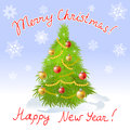 Christmas card with christmas tree and greeting vector illustration Royalty Free Stock Photo
