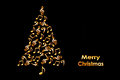 Christmas card with a Christmas tree made of shiny golden musical notes on black