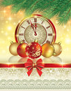 Christmas card with a clock and balls tree golden baubles on shining background Stock Photos