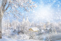 Christmas card cold winter frosted town in lithuania zemaiciu kalvarija Royalty Free Stock Photo