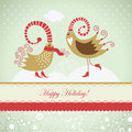 Christmas card with cute birds Royalty Free Stock Images