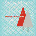 Christmas card with cute bright trees Royalty Free Stock Images