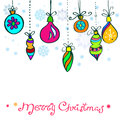 Christmas Card with cute color decorations Royalty Free Stock Photos