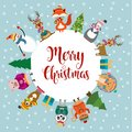 Christmas card with cute dressed animals and wishes