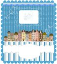 Christmas card cute little town in winter this is file of eps format Royalty Free Stock Photo
