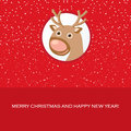 Christmas card with cute reindeer Stock Photos