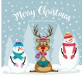 Christmas card with cute snowman, reinder and wishes