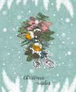Christmas card with decorations in the vintage hand drawn style. Cute snowflakes and pine tree branches under the snow.